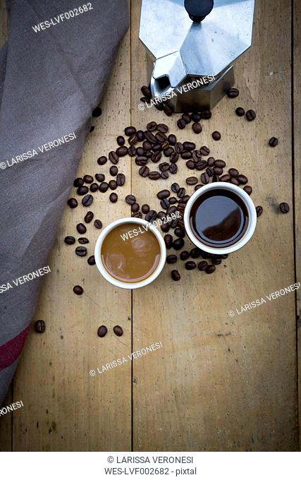 Two cups of coffee, cloth, espresso can and coffee beans