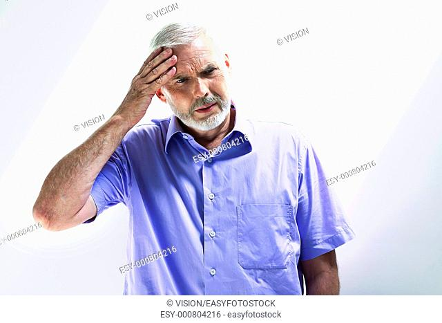 caucasian senior man portrait memory blank isolated studio on white background