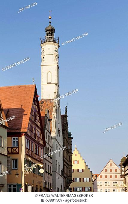 Town Hall tower near Marktplatz square, Rothenburg ob der Tauber, Romantic Road, Franconia, Bavaria, Germany