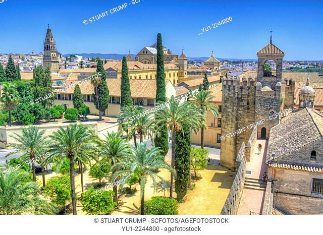 HDR of the view of the The Alcázar de los Reyes Cristianos also known as Alcázar of Córdoba, Córdoba, Andalusia, Spain