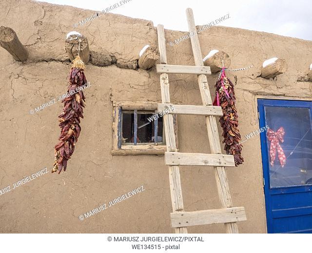 Taos Pueblo is an ancient pueblo belonging to a Tiwa-speaking Native American tribe of Pueblo people