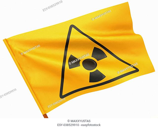 Flag with simbol of radiation on white isolated background. 3d