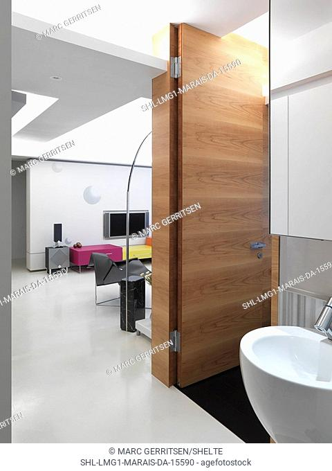 Modern bathroom sink and view into living room