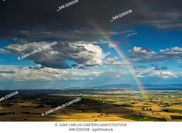 Fields and Rainbow in La Rioja. Spain. Europe