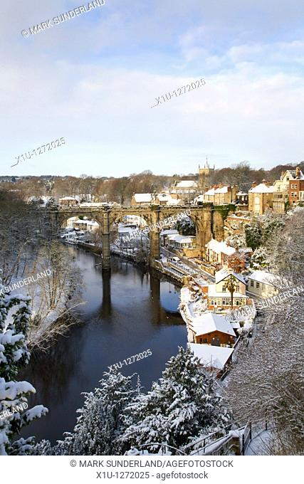 Viaduct and The Nidd in Winter Knaresborough North Yorkshire England