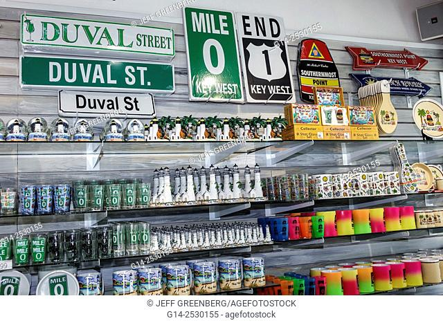 Florida, Key West, Keys, Route 1, Whitehead Street, Mile Marker 0, End of the Road gift shop store, souvenirs, sale, display