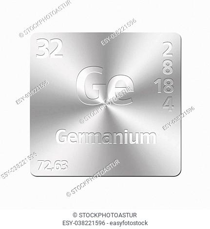 Isolated metal button with periodic table, Germanium