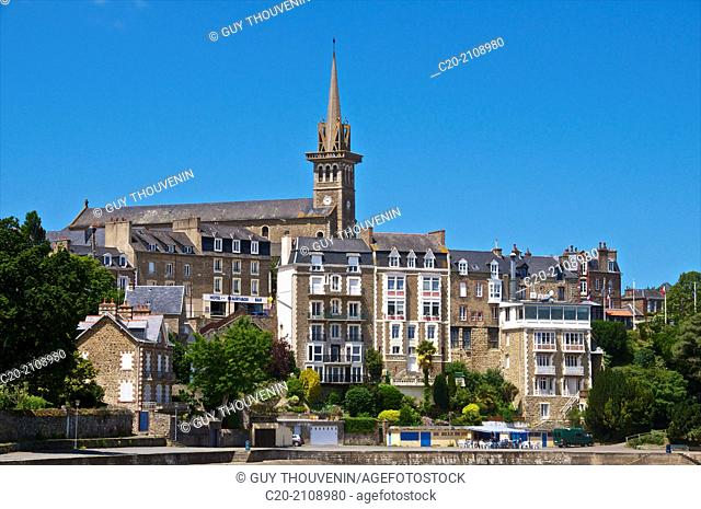 Promenade du Clair de Lune, along the sea, and church and church steeple, with granite typical houses, Dinard, Brittany, Ille et Villaine 35, France