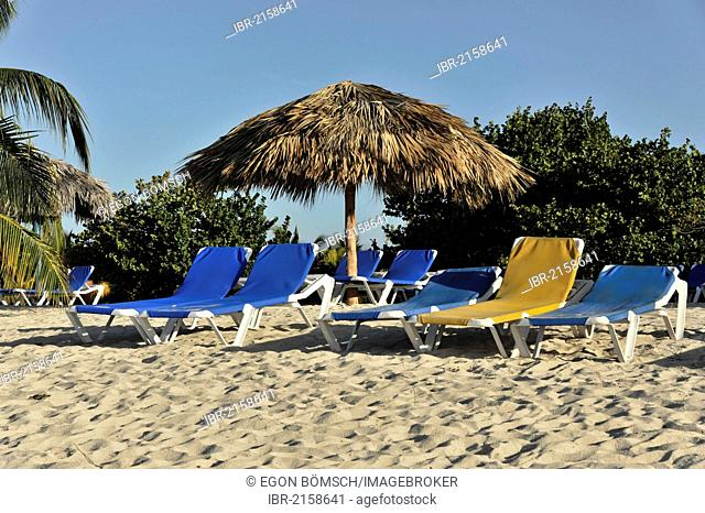 Hotel beach with sunbeds and parasol, 4-star Brisas Trinidad Del Mar Hotel, Trinidad, Cuba, Greater Antilles, Caribbean, Central America, America