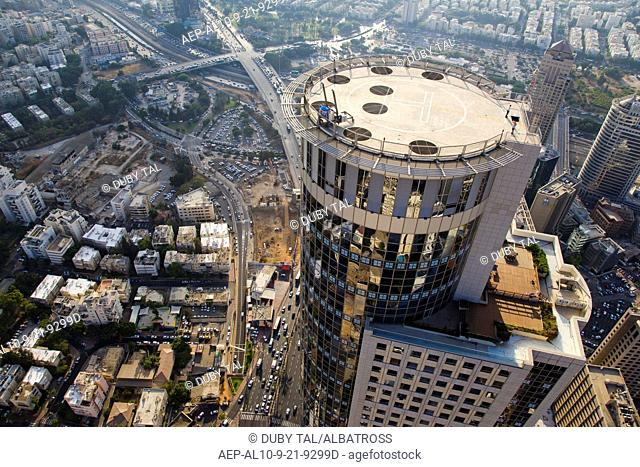 Aerial photograph of the Moshe Aviv tower in the city of Ramat Gan
