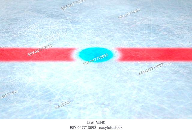 A 3D render of the center mark of an ice hockey rink stadium