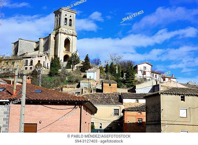 View of the church of San Pedro in Pampliega, Burgos, Spain