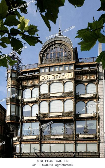 ART NOUVEAU FACADE, OLD ENGLAND BUILDING, MUSEUM OF MUSICAL INSTRUMENTS, BRUSSELS, BELGIUM