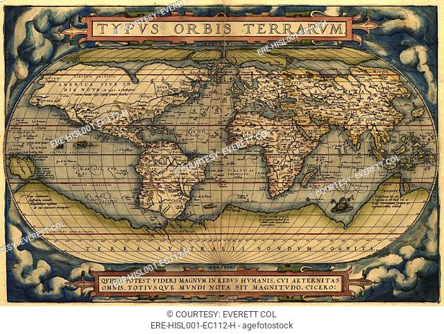 Map of the world. This celebrated map shows the world as a disc ...