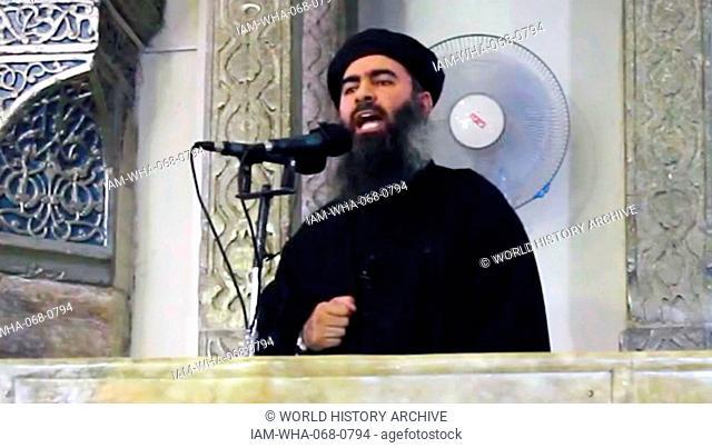 Abu Bakr al-Baghdadi (Amir al-Mu'minin or Caliph Ibrahim), leader of the Islamic State of Iraq and the Levant (ISIL), an Islamic extremist group in western Iraq