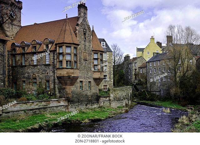 The water of Leith flowing through Dean Village in Edinburgh