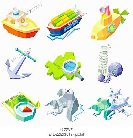 Various objects on white background