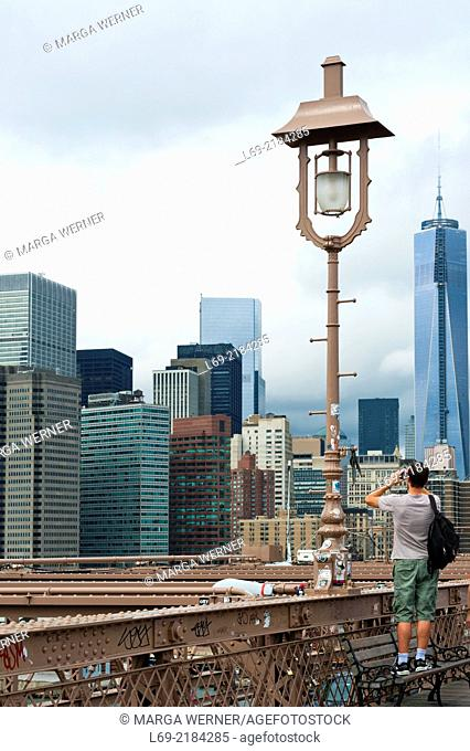View on Downtown Manhattan from Brooklyn Bridge with One World Trade Center, New York, USA