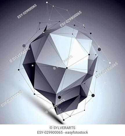 Spatial technological asymmetric shape, polygonal contrast eps8 wireframe object placed over dark background