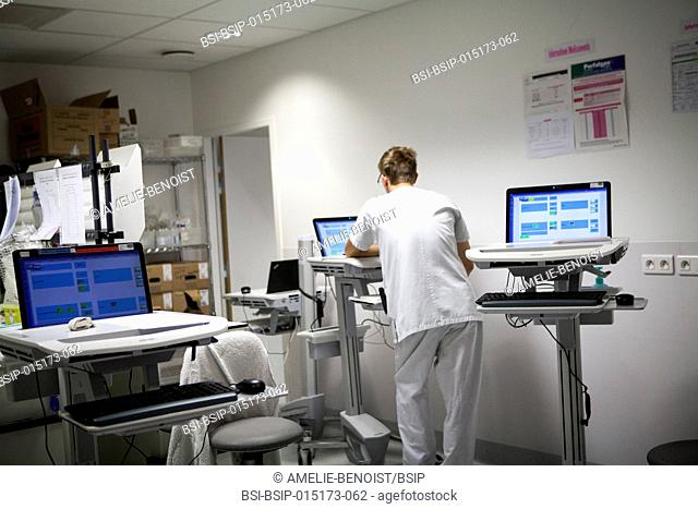 Reportage in the pediatric emergency unit in a hospital in Haute-Savoie, France. Nurse