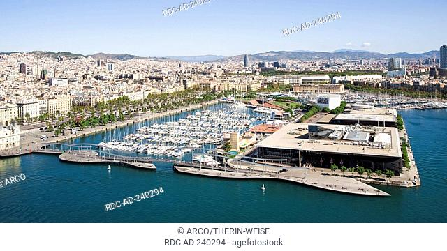 Rambla de Mar footbridge, harbour Port Vell, Barcelona, Catalonia, Spain