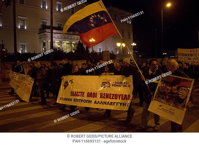 Rally in front of Parliament in Athens, in support of Venezuelan government and Nicolás Maduro, Movement Somos Venezuela (We are Venezuela)