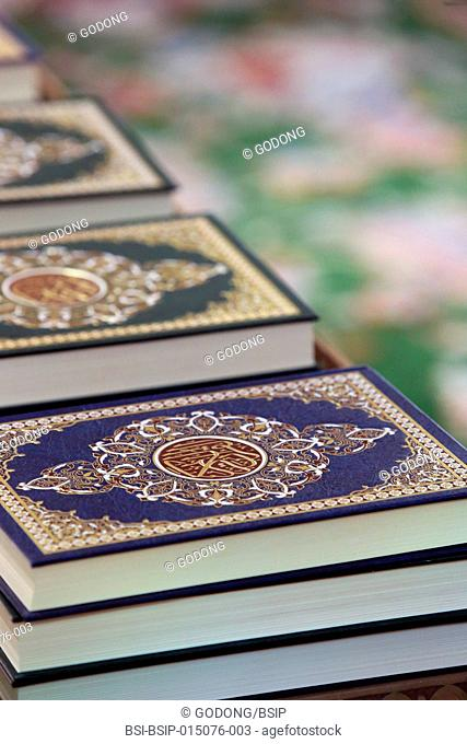 Detail of copies of The Koran inside Sheikh Zayed Grand Mosque, Abu Dhabi