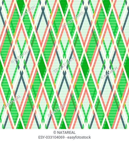 Seamless rhombic vector colorful pattern mainly in green, pink and other light warm colors