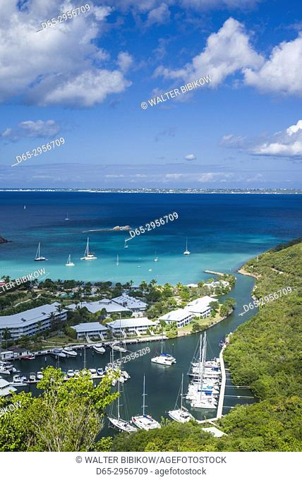 French West Indies, St-Martin, Anse Marcel, elevated view of Anse Marcel Marina