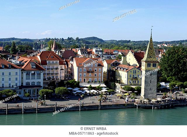 View at Old Town and Mangturm, Lindau, Lake of Constance, Bavarians, Germany