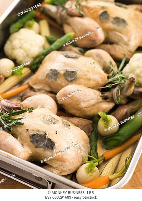 Roasting Tray of Black Truffled Poussins with Baby Spring Vegetables