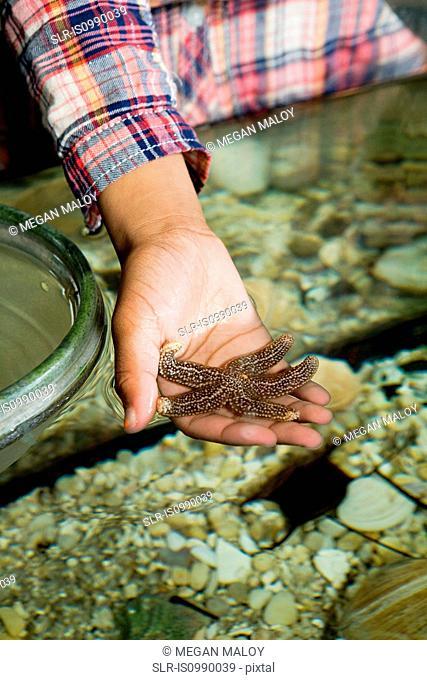 Girl holding starfish in aquarium