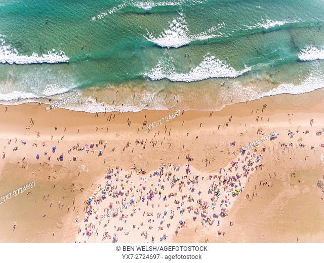 Aerial view of Los Lances beach. Tarifa, Costa de la Luz, Cadiz, Andalusia, Southern Spain