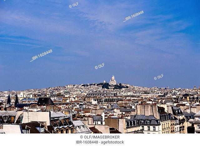 Montmartre district and basilica Sacré Coeur seen from the Centre Pompidou, Paris, Ile de France region, France, Europe