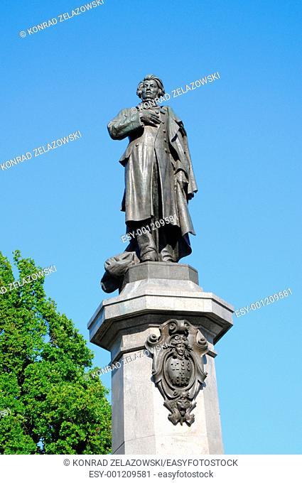 Neo-Classicist monument of polish poet and writer Adam Mickiewicz, constructed by Cyprian Godebski 1897-1898 , at Krakowskie Przedmiescie Street in Warsaw