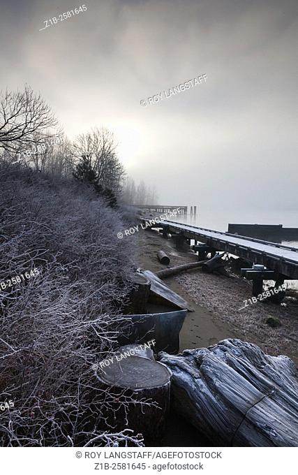 Riverbank walk along the Fraser River in Vancouver on a cold frosty morning