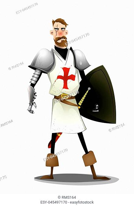 Templar knight standing on white background. Vector cartoon
