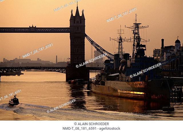 Bridge over a river, Tower Bridge, London, England