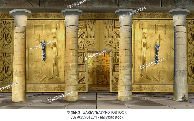 Digital painting of the hall of Ancient Egyptian Temple with columns and mural