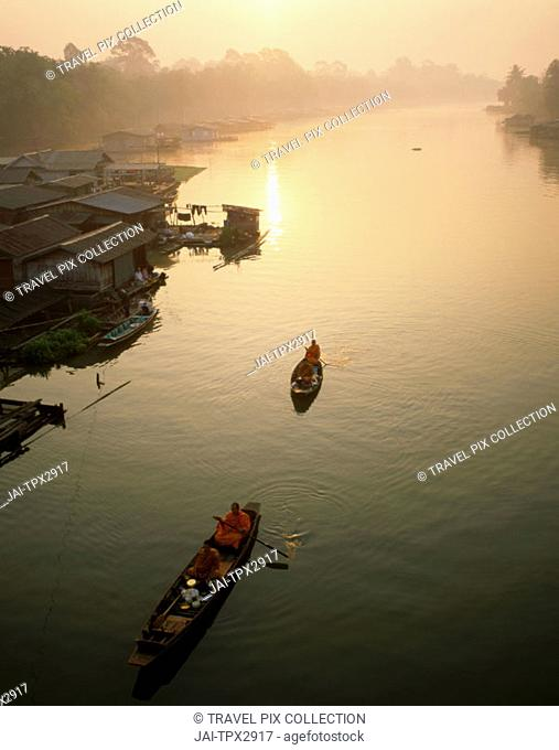 Mekong River / River Boat Houses / Sunrise     , Thailand