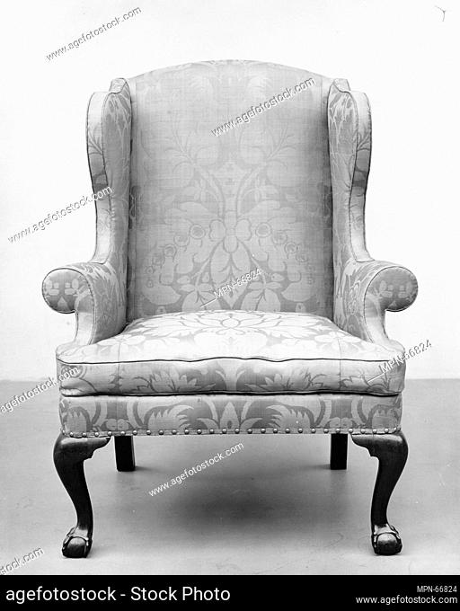 Easy chair. Date: 1755-90; Geography: Made in New York, New York, United States; Culture: American; Medium: Walnut, white oak, white pine