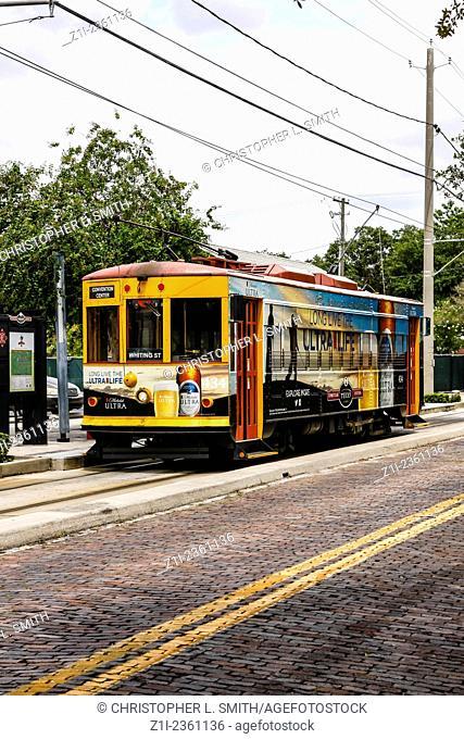 Street car in downtown Ybor City Tampa FL