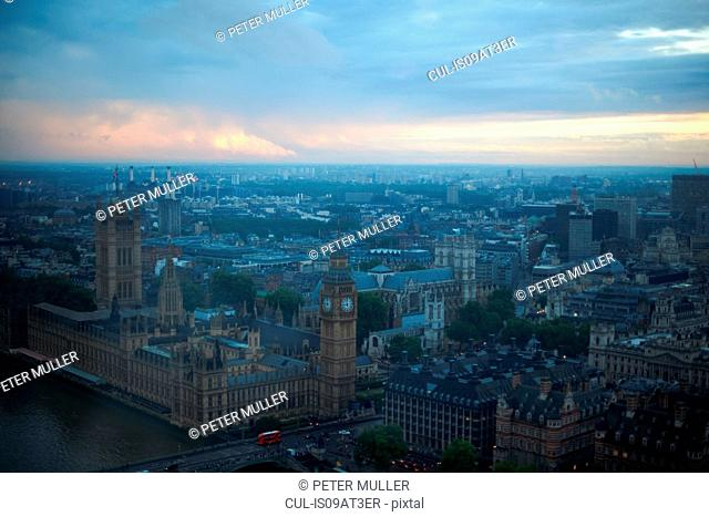 High angle view of Big Ben and Westminster Palace at dawn, London, England, UK