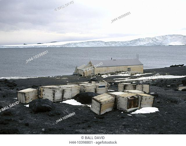 10398801, Antarctic, cape Evans, wooden container, wooden hut, coast, horse island, isle, Scott Expedition, USA, America, Nort