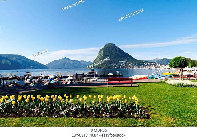 Lugano, Switzerland: view of the gulf from the botanical garden of the city