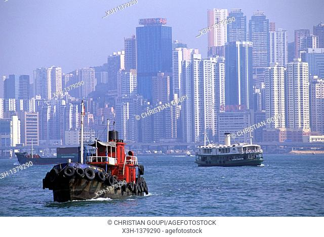 Victoria Harbour between Hong-Kong Island and Kowloon peninsula, People's Republic of China, Asia