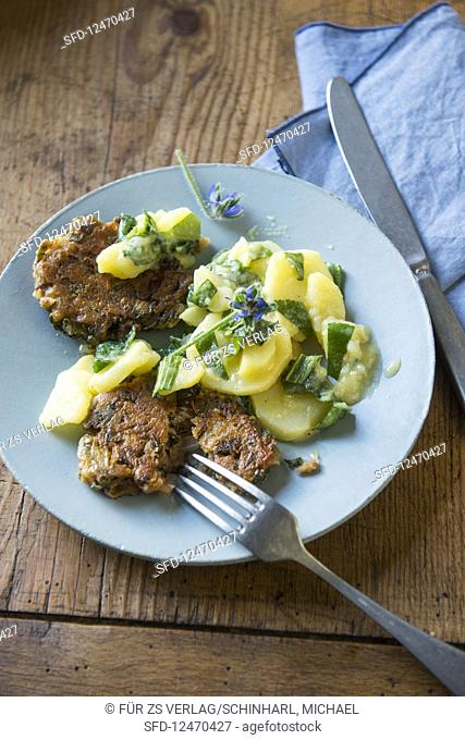 Bread fritter with potato salad