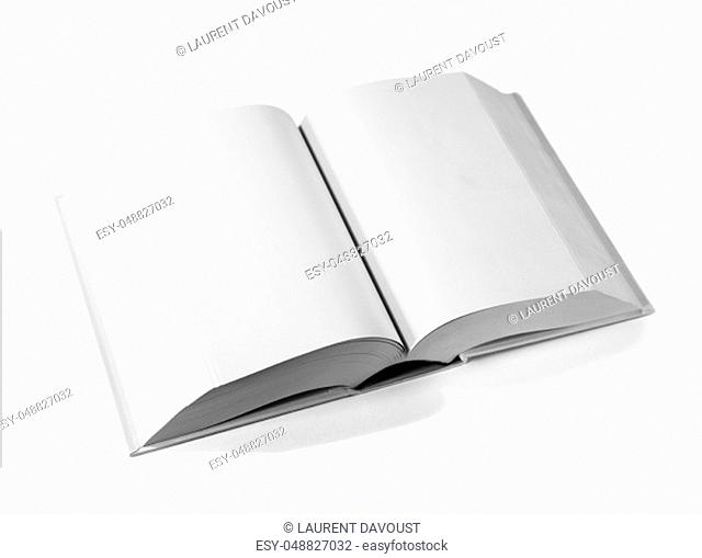 Open blank dictionary, book mockup, isolated on white