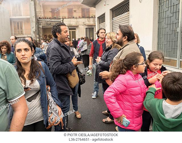 Zafferana Etna, Sicily, Italy - Annual October Festival of Food. Italians discussing