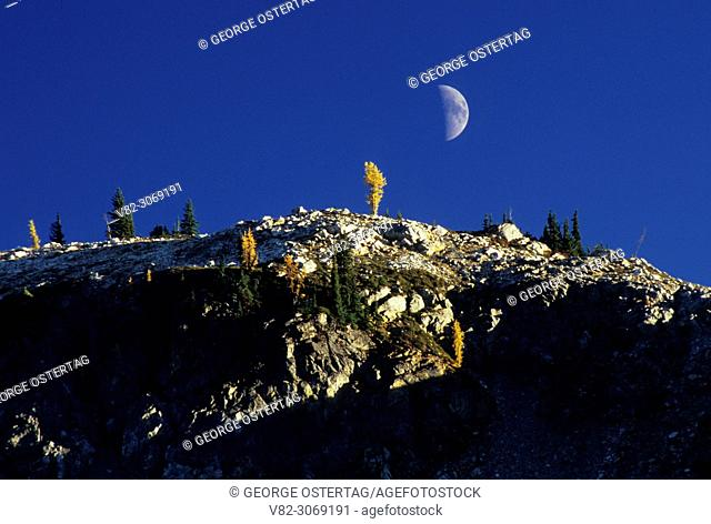 Moonrise over ridge from Heather Pass, Okanogan National Forest, Washington